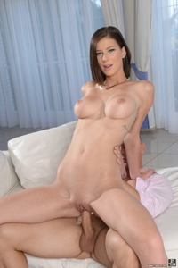Round Titted Brunette Mimi Lion Rides On A Cock