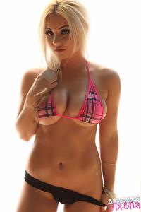 Ashlyn Teases In Pink Plaid Bikini