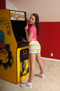 Playful Teen Natalie Heart Strips At Home