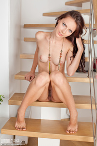 Skinny Brunette Girl Strips