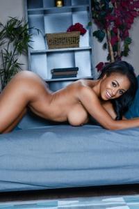 Busty Ebony Anya Ivy Strips On The Sofa