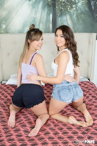 Dillion Harper And Melissa Moore Dildoing On A Bed
