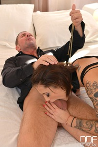 Gentlemen's Club - Two Studs Give Brunette Spanking And Fisting