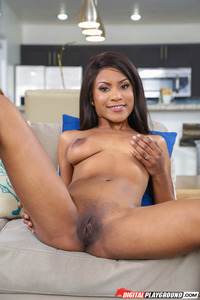 Sexy Ebony Babe Indigo Vanity Undressing On The Couch