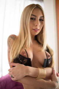 Sexy Blonde Kat Dior Spreading In Black Lace Panties