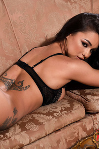 Mica Martinez In Her Black Lingerie On The Sofa