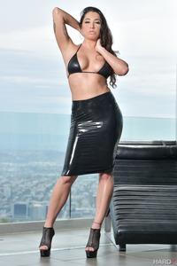 Busty Karlee Grey In Sexy Black Latex Skirt