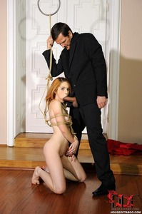 Redhead Rope Bound Gets Fucked