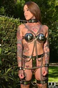 Tattooed Sub Gets Leashed