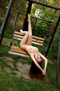 Hot Redhead Garden Naked