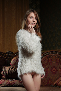 Sexy Sofi Shane's Pale Skin Is Almost As White As Her Fluffy Jumper