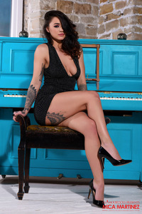 Mica Martinez In Her Tight Black Dress At The Piano