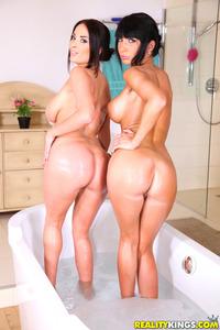 Two Busty Lesbian Babes Take A Bath