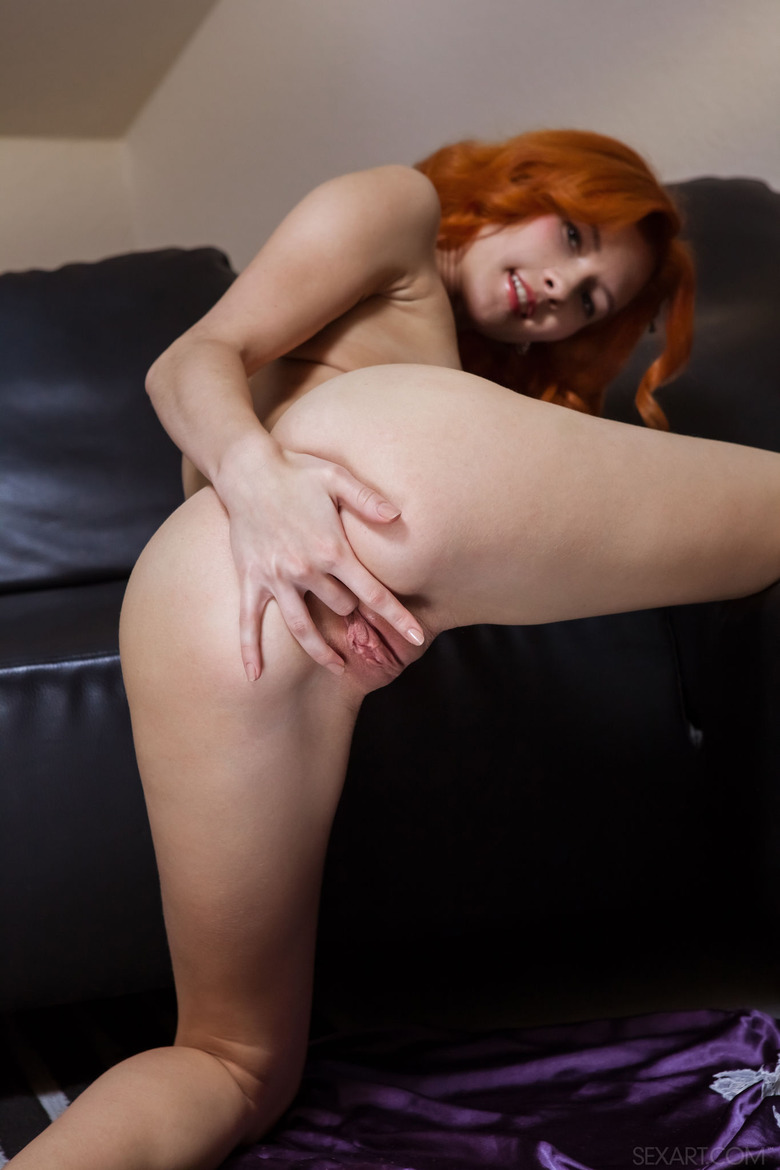 Sexy Redhead Teen Ambre Strips And Fingers Herself