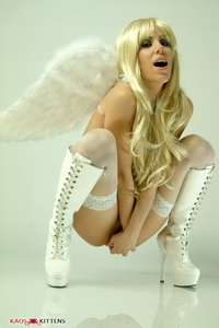 Blonde models white angel wings