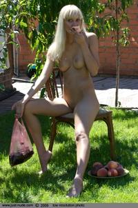 Cutie blond in the garden