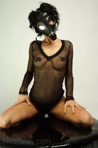 Britany puts on her favorite gas mask