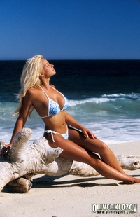 Gorgeous blonde babe on the beach