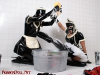 Latex maids get dirty