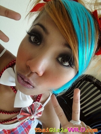 Blue haired asian chick