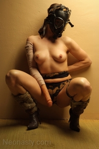 Chick in gas mask