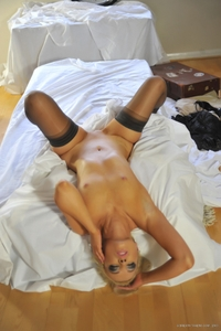 Horny Faye on bed