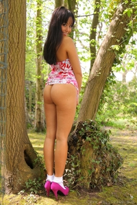 Sexy chick in the woods