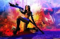 Samantha with a gun