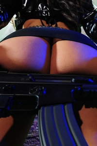 Sexy Mya with gun