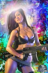 Crazy babe with a gun