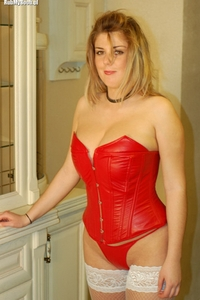 Blonde Kimberly in red gorset