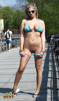 Blue bikini on the bridge
