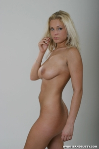 Blond babe posing first time