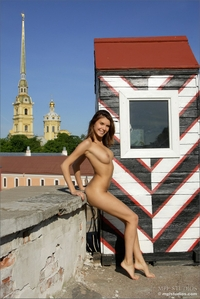 Beautiful pussy posing on the rooftop