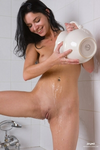 Cheeky young Stacey naked in bathroom