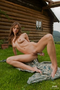 Cheeky Eufrat teasing herself outdoor