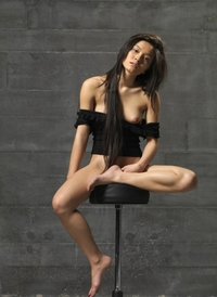 Sweet Asian Yoko naked on the bar stool