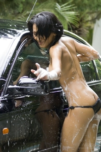 Hot Asian Rowena naked carwash