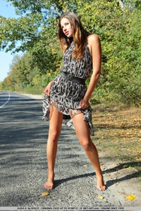 Sexy teen Alisa naked on the road