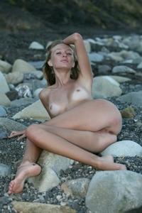 Cute blonde Tati left her bikini at home