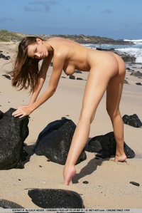 Beautiful young Eufrat bending by the sea