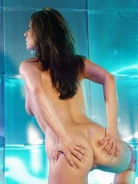 Cheeky brunette babe teasing naked