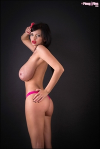 Big titted Sha Rizel pink bikini strip