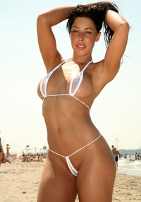 Gorgeous Ashette in white bikini