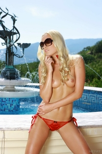 Beautiful blonde Lisa stripping outdoor