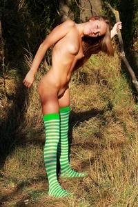 Amateur schoolgirl Alena naked outdoor