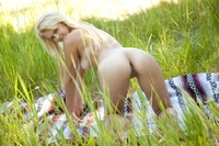 Gorgeous blonde teen Marie outdoor
