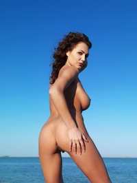 Big titted Gabriela nude on the beach