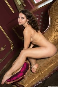 Young brunette babe Tara spreading legs