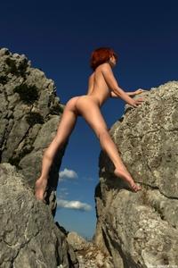 Gorgeous redhead Agatha posing naked